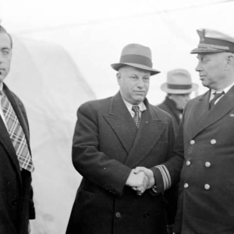 Captain Henry Coyle and Reporter W. E. Debnam, 1937 - Norfolk, Virginia Via Hampton Roads historical project http://cdm15987.contentdm.oclc.org/cdm/search/searchterm/USCGC%20Mendota/mode/exact