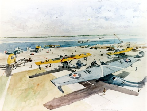 Apron with patrol squadron planes.