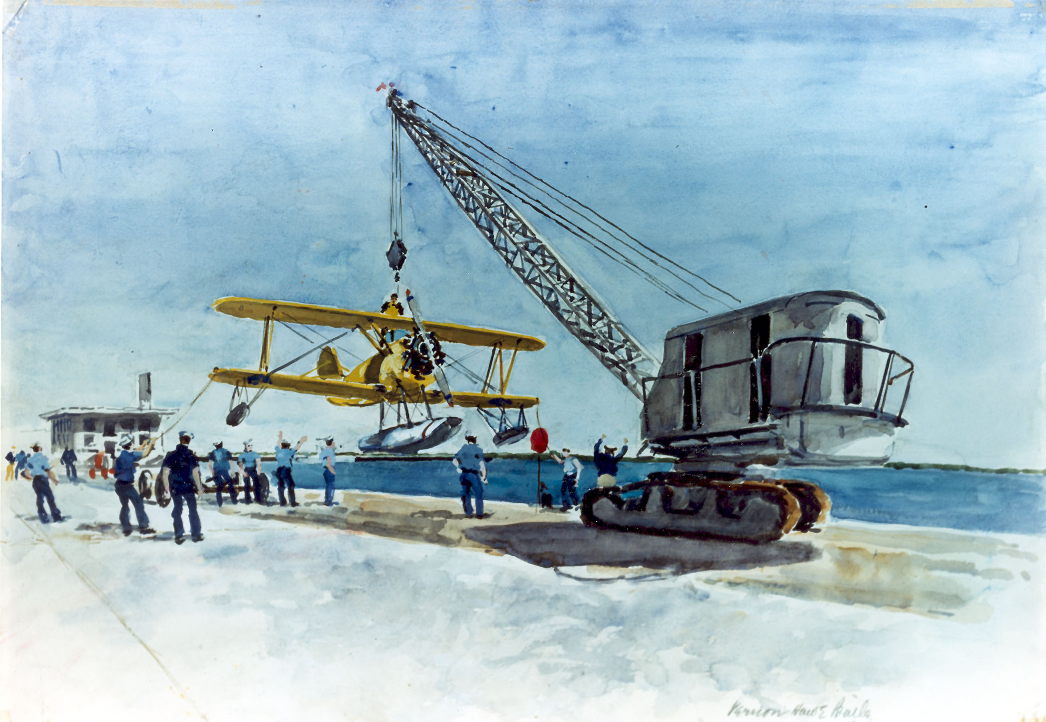 Crane hoisting a sea plane from the St. Johns River.