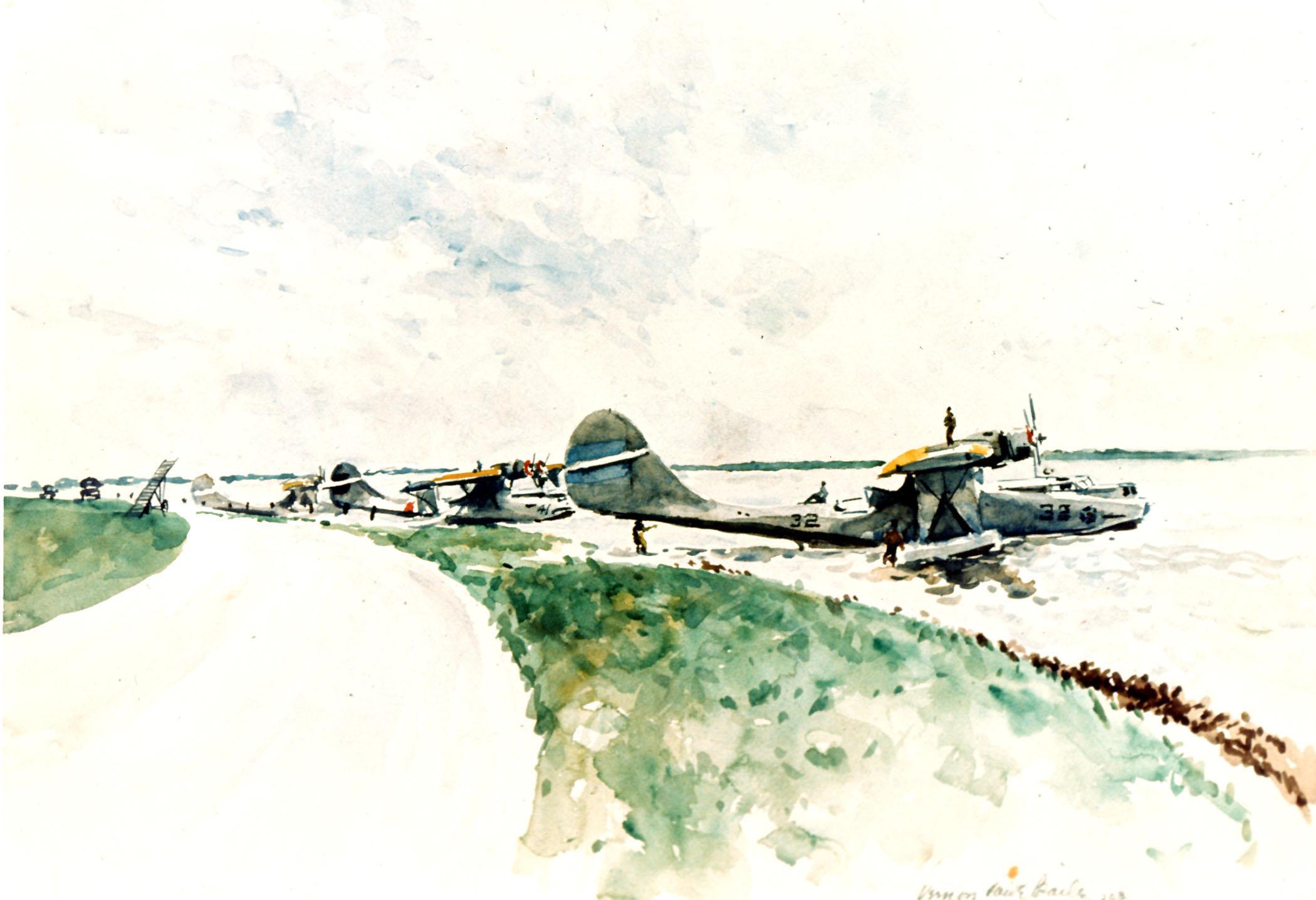 PBY Patrol planes at the beach.