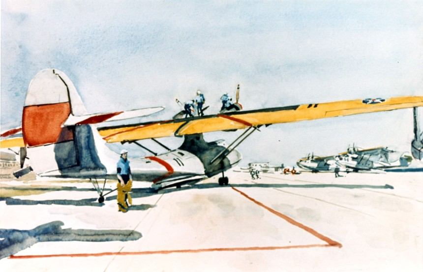 Patrol plane on the air station apron.