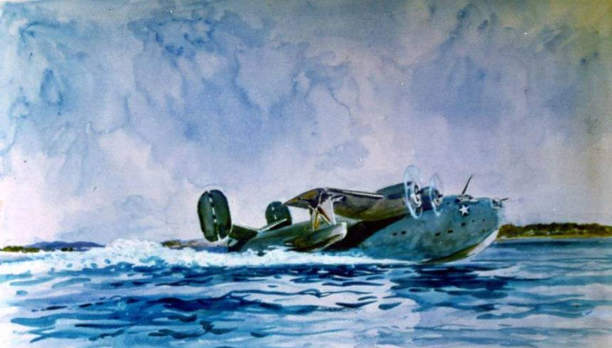Combat Art entitled, PB2Y-2 Taking off from the Water by Vernon Howe Bailer (No.396). Courtesy of the Navy Art Collection. National Archives photograph, KN-24437.