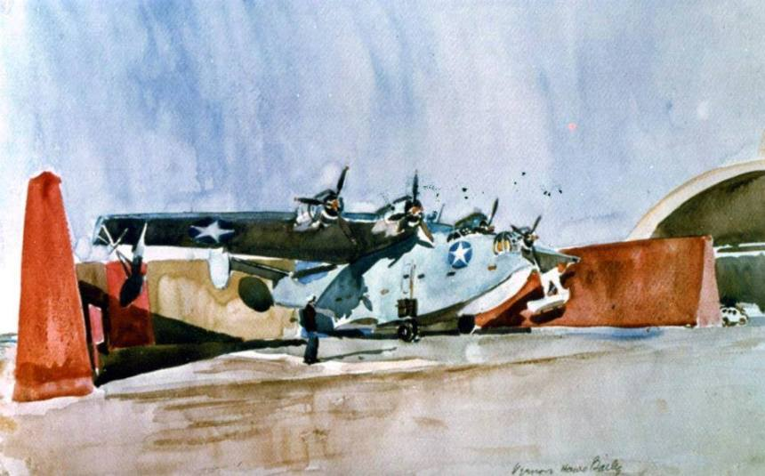 Combat Art entitled View of a PB2Y in a Camouflaged Revetment by Vernon Howe Bailer (No. 397). Courtesy of the Navy Art Collection. National Archives photograph, KN 24436.