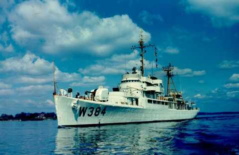 Sistership USS Cook Inlet in Coast Guard service as WAVB-384. She would be transferred to the Vietnamese Navy as RVNS Tran Quoc Toan (HQ-06) in 1971