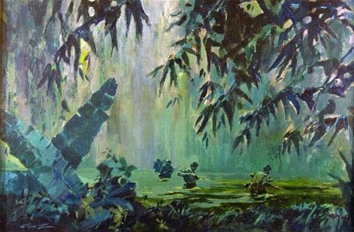"""Swamp Patrol"" – Roger Blum, 1966 vietnam combat art project"