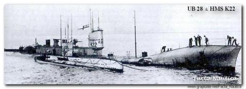 Alongside captured coastal U-boat S.M.S. UB 28 in 1918, note the huge size difference.