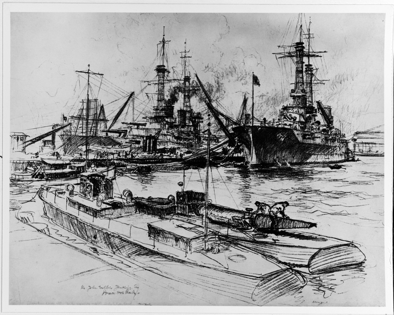NH 86451 USS NEW YORK (BB-34) and USS ARIZONA (BB-39) fitting out note torpedo boat loading fish