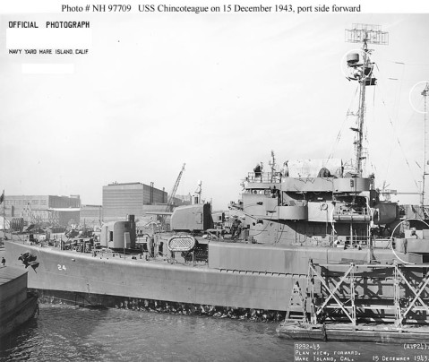 USS Chincoteague (AVP-24) A port side view of the forward portion of the ship taken on 15 December 1943 at the Mare Island Navy Yard. The ship was completing repair of severe battle damage incurred in July 1943. Circled changes include new antennas on the foremast and just forward of the stack. Official U.S. Navy Photograph, from the collections of the Naval History and Heritage Command. Catalog #: NH 97709