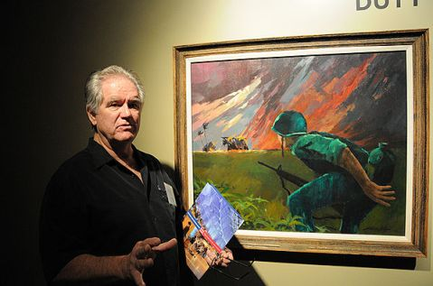 Roger Blum, Vietnam Combat Artist Team I, discusses his painting Attack at Twilight,