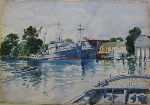 "Seagoing Rescue Tugs,"" by Vernon Howe Bailey, Watercolor, 1942, 88-165-LN. This painting went south http://www.navalhistory.org/2010/04/12/misappropriated-navy-art but, as noted by the NHC, was recovered: ""This painting recently returned to us from a DC area auction house. The consignor had found it at a Goodwill store, I'm told. Its last location before it went missing was with the Bureau of Ships before 1969. One of our local NCIS agents very kindly visited the auction house two hours before the start of our first big snowstorm in February to let them know the Navy had a claim on the painting."""