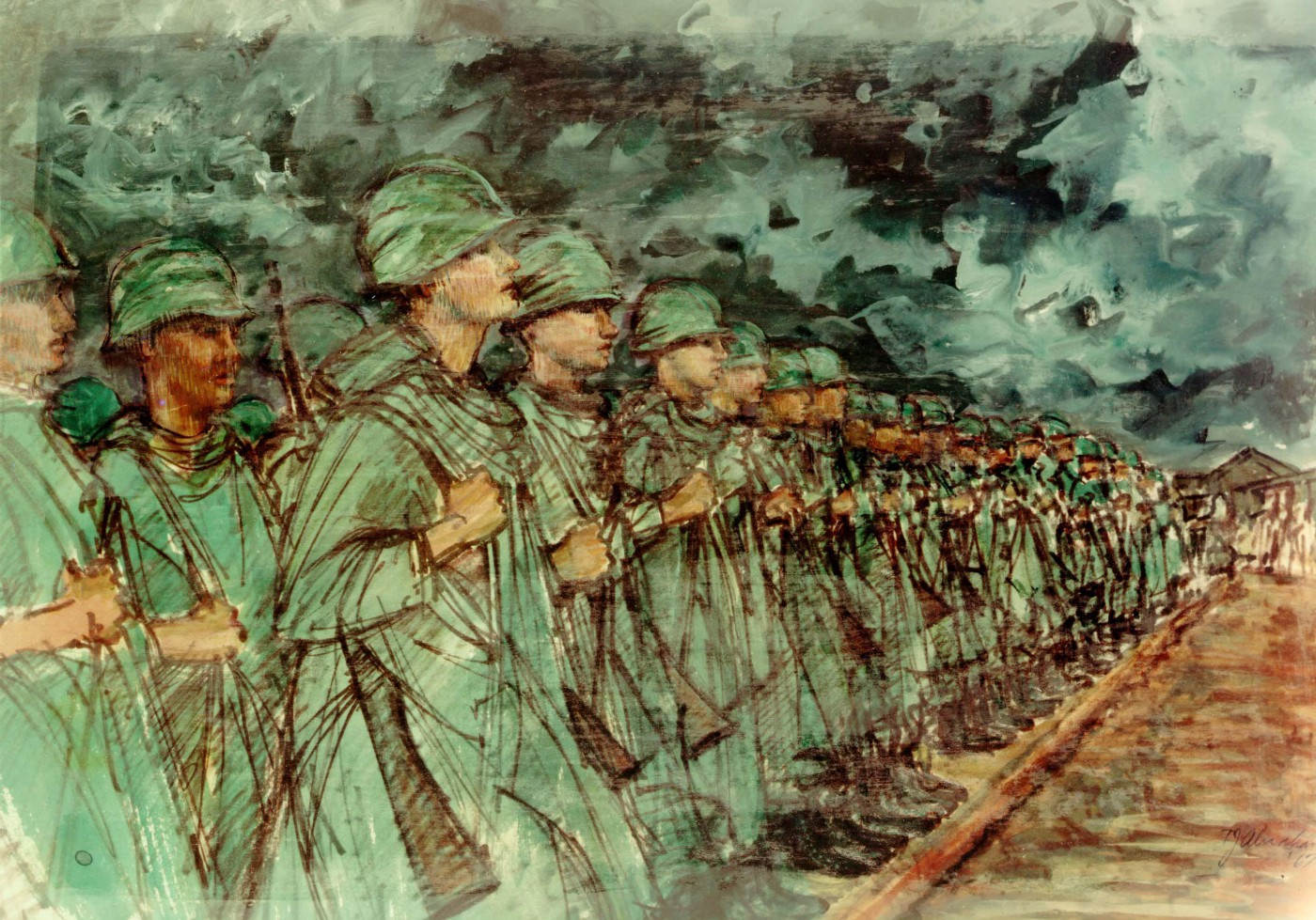 Soldiers Getting the Word by Theodore J. Abraham Vietnam