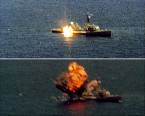 U.S. Navy UGM-109 Tomahawk cruise missile hits (and sinks) the target ship USS Agerholm (DD-826), off Point Mugu, California, on 18 July 1982. The Tomahawk was launched from a distance of ca. 320 km from the nuclear-powered attack submarine USS Guitarro (SSN-665). U.S. Defense imagery photos VIRIN: DN-SC-83-06574 and DN-SC-83-06575.