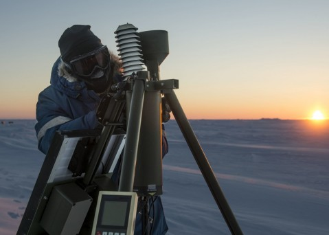 160309-N-QA919-991 ARCTIC CIRCLE (March 9, 2016) Aerographer's Mate 1st Class Daryl Meer, assigned to Fleet Weather Center Norfolk, sets up an Advanced Automated Weather Observation System during Ice Exercise (ICEX) 2016. ICEX 2016 is a five-week exercise designed to research, test, and evaluate operational capabilities in the region. ICEX 2016 allows the U.S. Navy to assess operational readiness in the Arctic, increase experience in the region, advance understanding of the Arctic Environment, and develop partnerships and collaborative efforts. (U.S. Navy photo by Mass Communication Specialist 2nd Class Tyler N. Thompson)