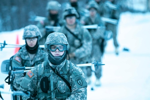 Paratroopers of 4th Infantry Brigade Combat Team (Airborne) 25th Infantry Division prepare for a crack at the skijoring course at Fort Wainwright, Alaska, during the U.S. Army Alaska Arctic Winter Games Jan. 27, 2016. Events included a written test, 2-mile ahkio pull, snowshoe ruck march, treating a cold-weather casualty, Arctic 10-man tent and stove drill, skijoring, biathlon and downhill ski. (U.S. Army photo by Staff Sgt. Daniel Love)