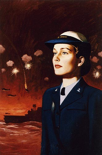 """WAVE At War, Ships At Night .NHC Accession #: 45-127-N """"WAVES were not eligible for combat duty. Their assignments remained stateside or in the territories of Hawaii and Alaska. But recruiting posters often depicted the contributions of WAVES to combat victories. Here, Falter superimposes a female enlistee over a battle scene, as though she stands for all the WAVES-parachute riggers, machinists' mates, gunners' mates, and others who will make this victory possible. This type of image not only brought in new recruits, but it boosted morale among the WAVES, reminding them that their work was directly impacting the war effort and strengthening the might of Navy forces."""""""