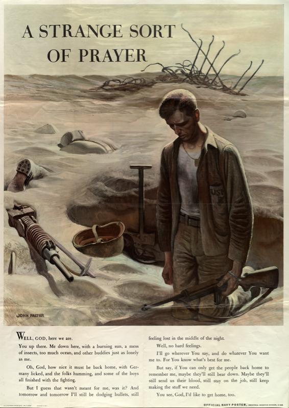 A Strange sort of Prayer (John Falter, 1945 Navy Poster, industrial incentive division)
