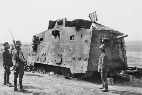 Australian soldiers of the 26th Battalion AIF inspecting their war trophy; 1 of the 20 German A7V tanks ever made. August 1918