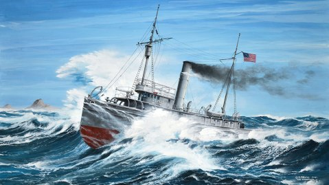 Modern painting of the USS Conestoga (AT 54) on its final voyage pounding through large waves during a gale off Southeast Farallon Island in March 1921. Credit: Artist Danijel Frka © Russ Matthews Col.