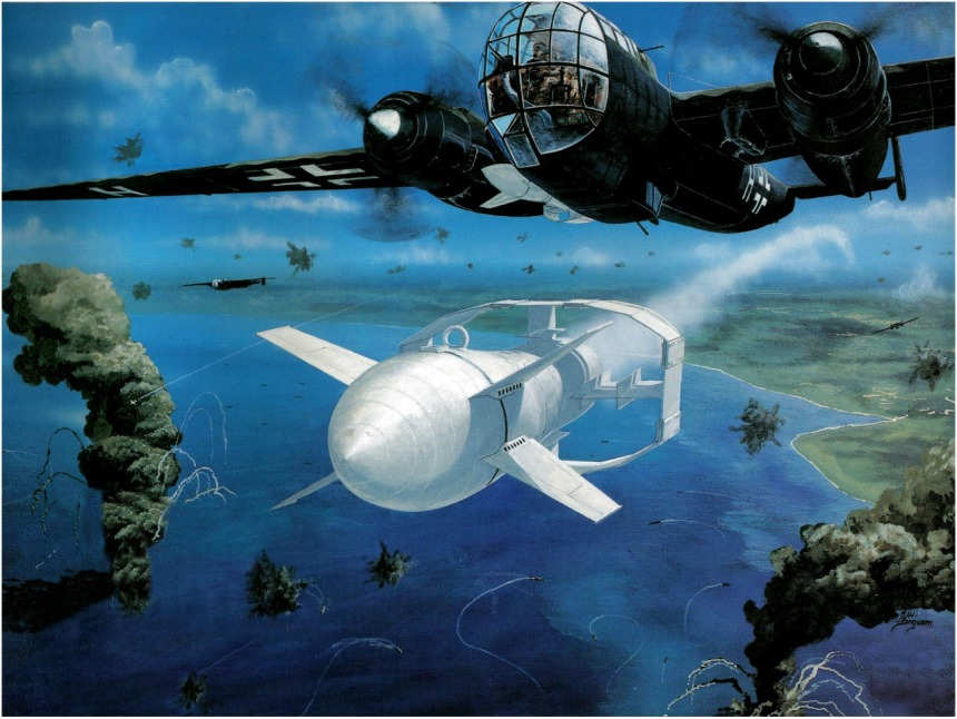 Depiction of the Dornier Do-217M Fritz X attack on Italian battleship Roma. The glide bomb had a flare in its tail to allow the bombardier to guide it to its target from upto 5km away