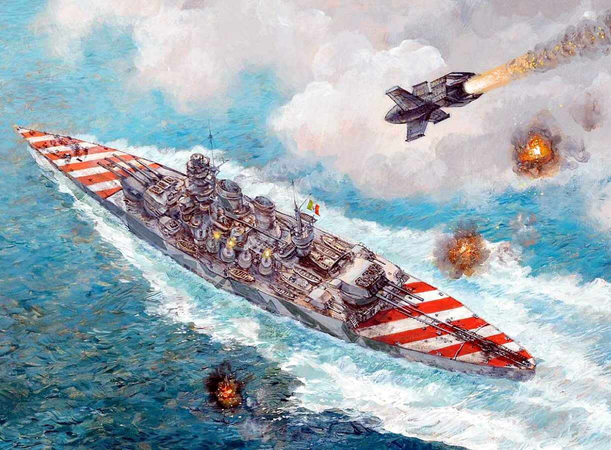 """""""End of the Roma 1943"""" by Paul Wright. Note the very distinctive national markings on deck. However, the flare on the Fritz-X seems a little too rocket-like as the bomb was unpowered."""