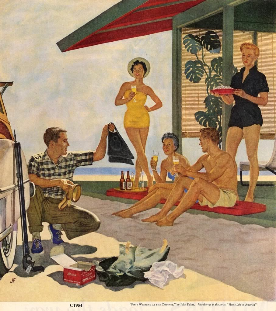First weekend at the cottage, home life in America 1954