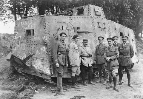 "French and British officers by the German A7V tank ""Elfriede"", captured near Villers"
