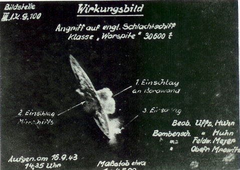 German aerial picture of the KG100 attack on Warsprite