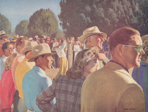 Golf – 1950s style – by John Falter