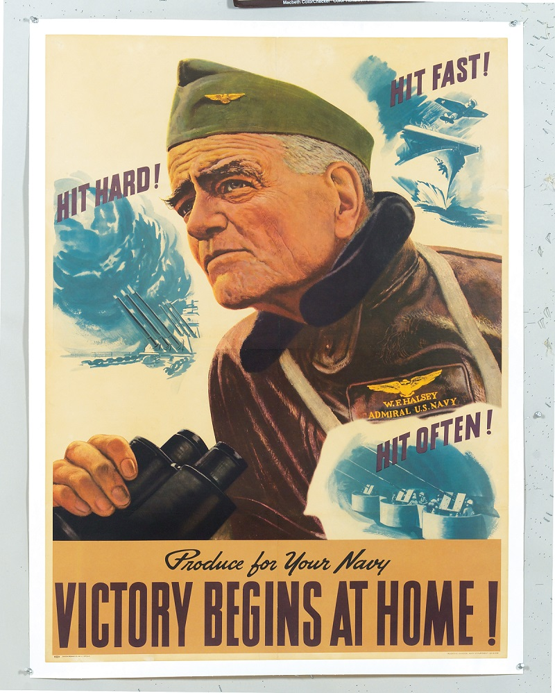 John Falter's Hit Hard! Hit Fast! Hit Often! of 1944 pictures a view from the bridge of a carrier. The poster's hero is Admiral 'Bull' Halsey, Commander of the U.S. Third Fleet, shown leaning forward to take on the enemy wearing his navy flight jacket and holding high powered binoculars.