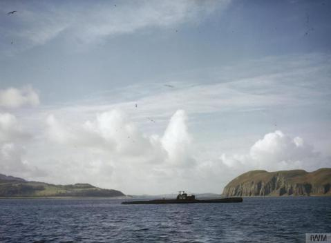 HMS TRIBUNE in Scottish waters, possibly at Campbeltown