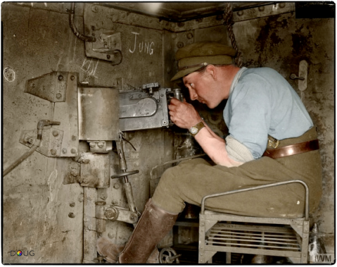 "Interior of the captured German tank A7V 542 ""Elfriede"" showing the position of one of the 7.92-mm MG.08 machine guns. It was captured by 'A' Coy 1st Battalion Royal Tank Corps, at the Battle of Villers-Bretonneux, 24th April 1918 (Photo source - © IWM Q 29585) Colorised by Doug"