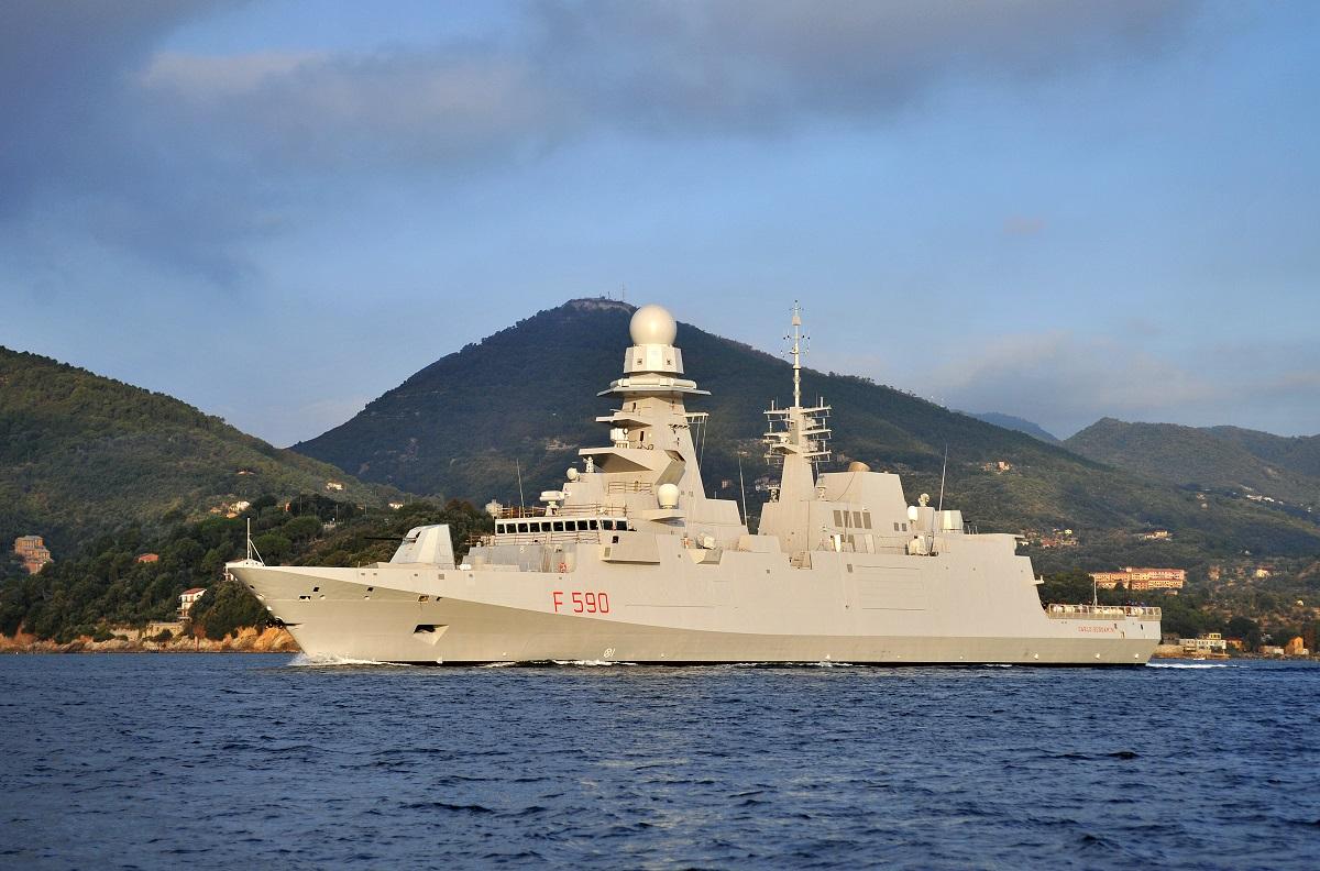 Italy's first FREMM class frigate, Carlo Bergamini (F590)