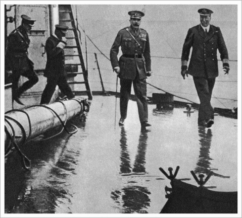 Lord Kitchener on board HMS Iron Duke at Scapa Flow, about one hour before he sailed on Hampshire