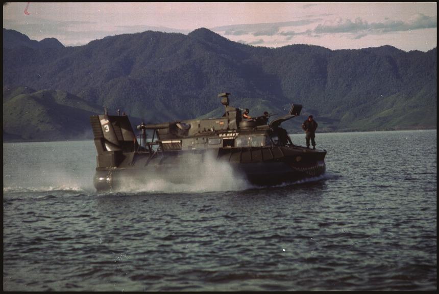 Navy patrol air cushion vehicle glides over the waters of Cau Hai Bay near Hue, South Vietnam hovercraft
