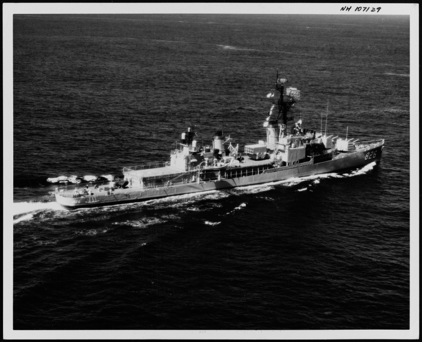 USS Agerholm Description: (DD-826) Underway on 18 April 1961, after her FRAM I conversion. Official U.S. Navy Photograph, from the collections of the Naval History and Heritage Command. Catalog #: NH 107129