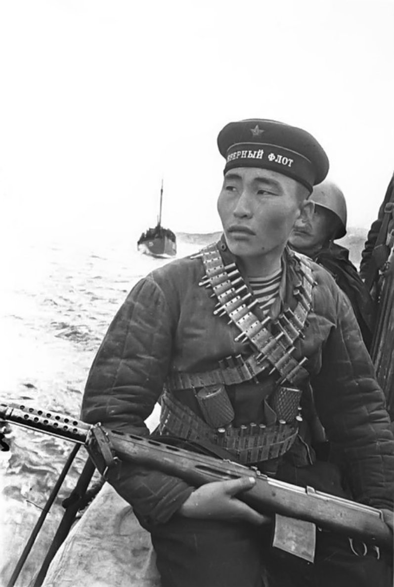 Radna Ayusheev, an ethnic Bashkir sniper of the 63rd Soviet Naval Infantry Brigade, is photographed during the Petsamo–Kirkenes Offensive