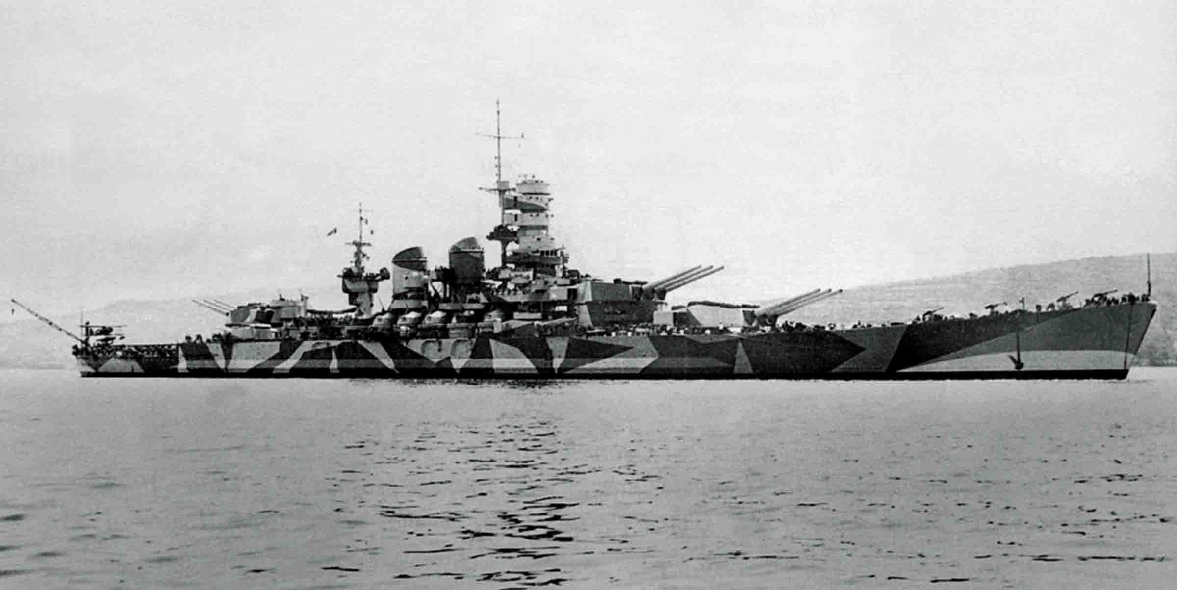 The Italian battleship roma anchored, ca., 1942