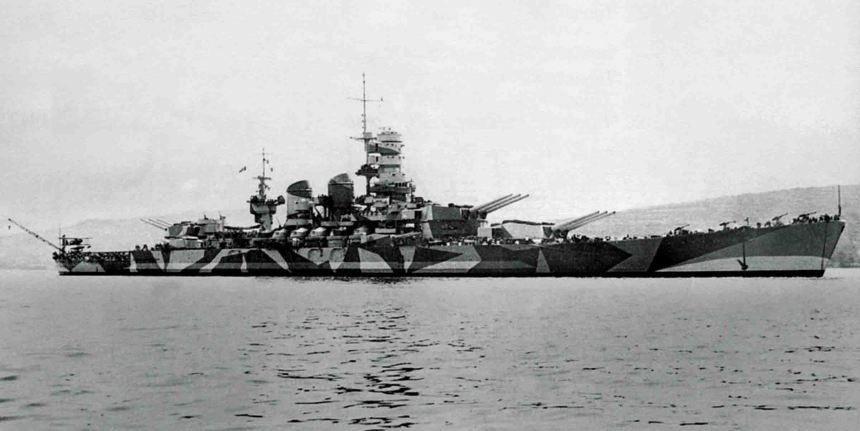 The Italian battleship roma anchored, ca., 1942