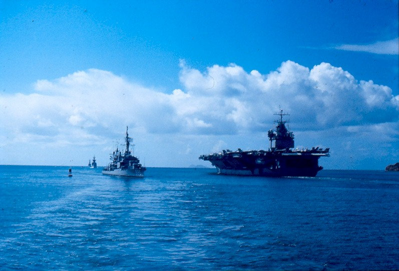 USS Enterprise (CVN-65) departs San Diego, California, 8 April 1978, on her 9th WestPac deployment and returning from her 21st and final WestPac deployment. Photo via Navsource