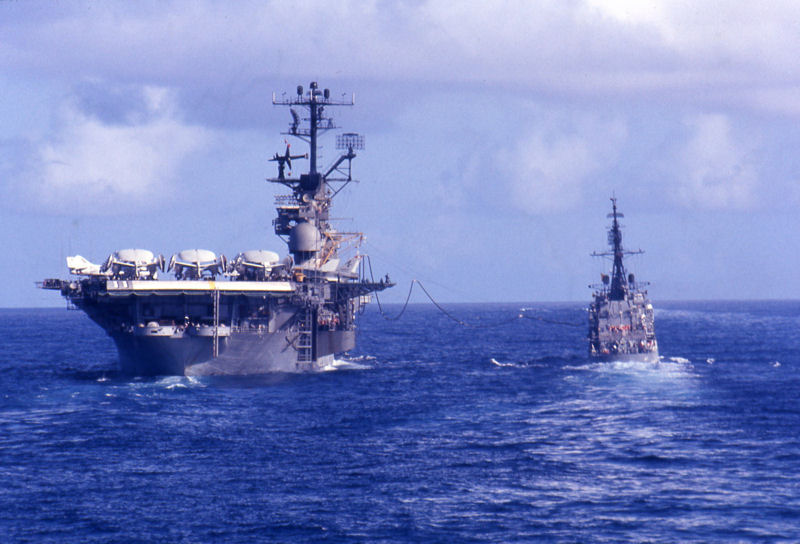 USS Intrepid CVS-11 refueling the Agerholm July 1967 off Vietnam. Image by Larry Backus via Navsource