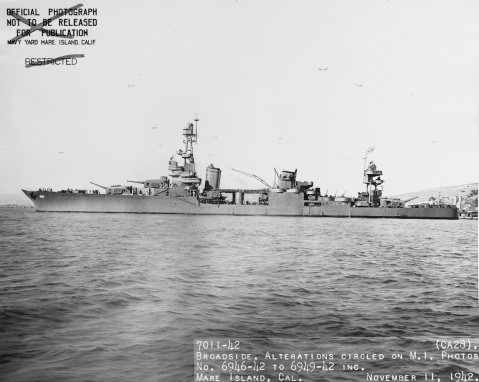 Off the Mare Island Navy Yard, 11 November 1942. Description: Catalog #: 19-N-36765