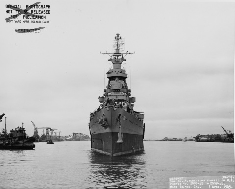 Off the Mare Island Navy Yard, 7 April 1945. Note: anchors; NEPANET (YTB-189) at left. Description: Catalog #: 19-N-83899