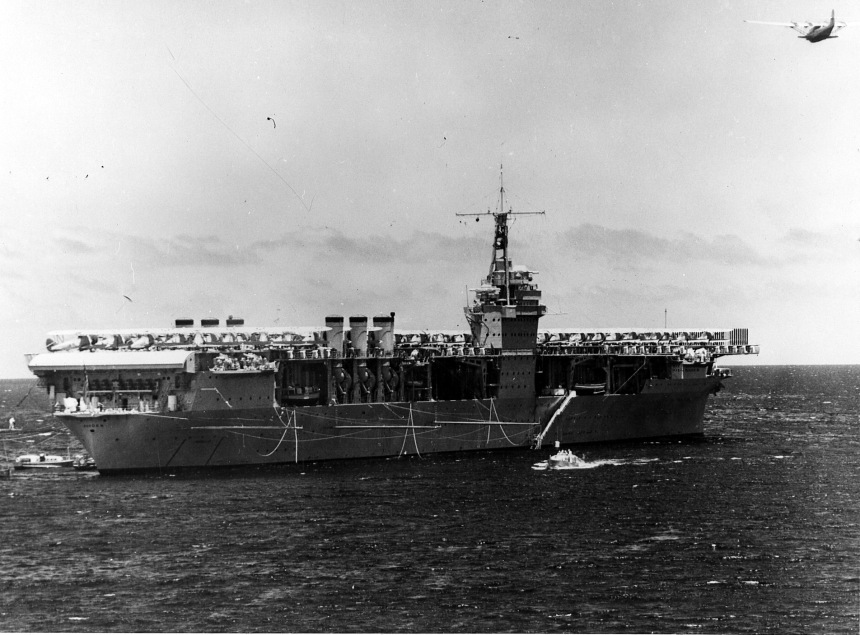 The aircraft carrier Ranger (CV-4) lies at anchor near Hawaii in 1937. Naval Aviation Museum Accession Number 1996.488.013.005