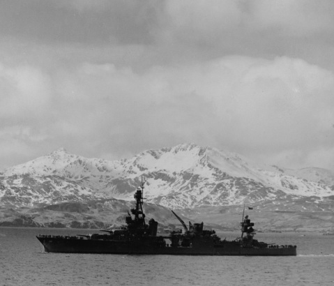 Steams out of Kulak Bay, Adak, Aleutian Islands, bound for operations against Attu, 25 April 1943. The photograph looks toward Sweepers Cove. Official U.S. Navy Photograph, now in the collections of the National Archives. 80-G-72060