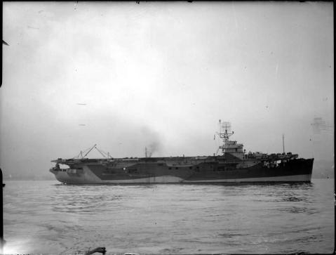 Undated photo of HMS Khedive (D62) underway at Greenock, Scotland, Captain H.J. Haynes RN in command. Source: Imperial War Museum Admiralty Official Collection by Beadell, S.J. (Lt), Photo No. © IWM(A 22596).