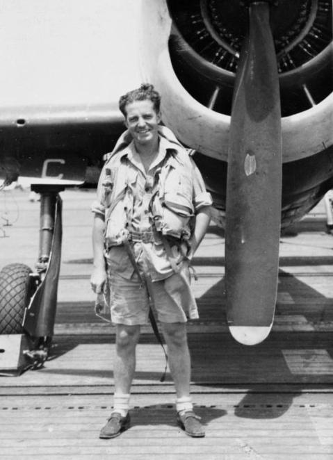Besides her Commonwealth aircrew of Brits, Canadians, Kiwis and Aussies, 808 had at least one Royal Netherlands Navy pilot, Lieut Willem Van Den Bosch in front of his Hellcat fighter, May 1945-- note the shorts. IWM A 28944