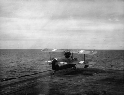 She also had a few SAR aircraft aboard for plucking out those lost at sea. Here is a Supermarine Walrus amphibious aircraft takes off from HMS KHEDIVE in the Far East to rescue the crew of a ditched bomber spotted in their dinghy 30 miles away. The white patches on the wings of the aircraft are recognition panels designed to prevent friendly fire incidents. IWM A 29251