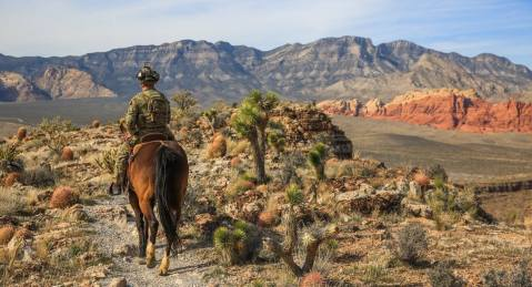 A Green Beret from 3rd Special Forces Group (Airborne) practices horse riding techniques, February 26, 2016 in Nevada. (U.S. Army photo by 3rd SFG (A) Combat Camera)