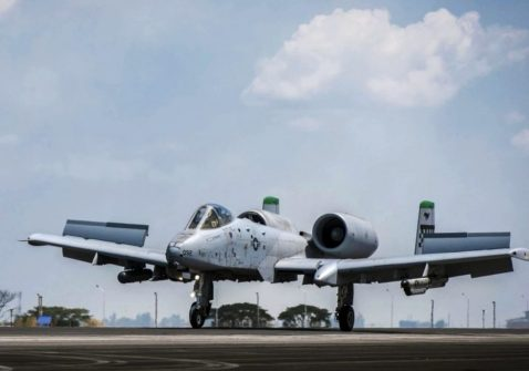 A U.S. Air Force A-10C Thunderbolt II touches down at Clark Air Base in the Philippines on April 19 after returning from an operational mission. A-10 attack planes have been flying maritime patrols over a coral reef chain known as Scarborough Shoal as the situation in the South China Sea grows more complex. MUST CREDIT: Handout photo by Staff Sgt. Benjamin W. Stratton, U.S. Air Force.