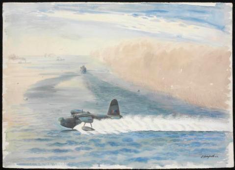 Activities begin as soon as the mist blows out to Sea, 1942. In the foreground, a Short Sunderland prepares for take-off on a calm sea. To the right there is a dense wall of pink-colored mist, and further out to sea there are three large ships. This is one of the more artistic war paintings I have seen.